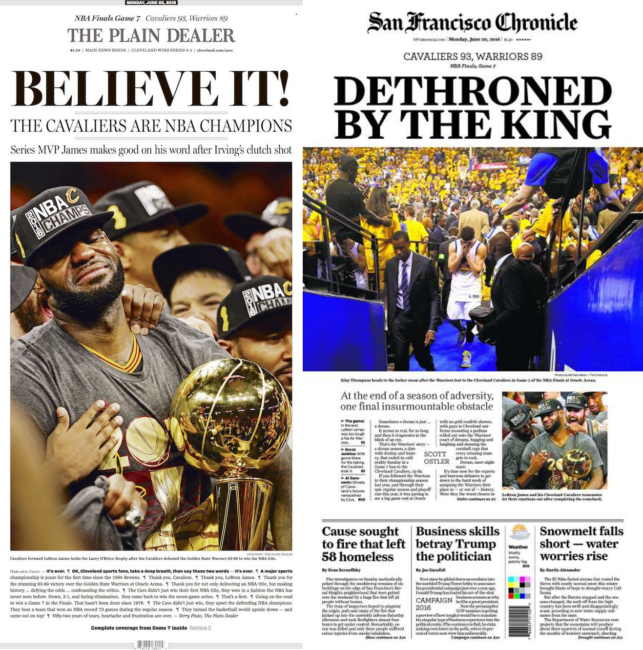 de8767493db Cleveland   SF Newspapers Morning After NBA Finals